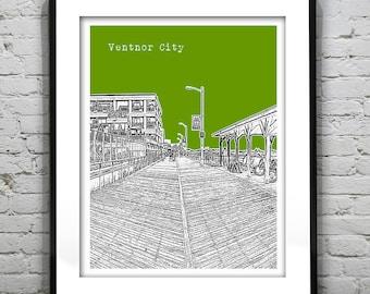 20% OFF Memorial Day Sale - Ventnor City Poster Print Art  NJ Skyline Jersey Shore Version 1