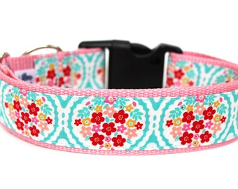 "Aqua Dog Collar 1"" or 1.5"" Floral Dog Collar Flower Dog Collar Pink Dog Collar"