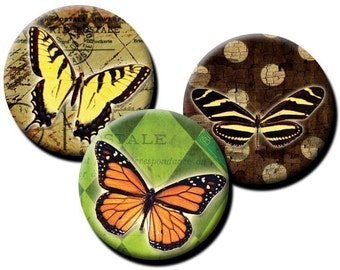Butterflies on Vintage - 1 inch and 1.25 inch circles - (2) Digital collage sheets