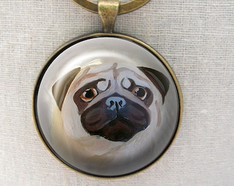 Fawn Pug Keychain ~ Trending Items ~ Pug Keychain ~ Pug Lover ~ Birthday Gift ~ Unique Gift