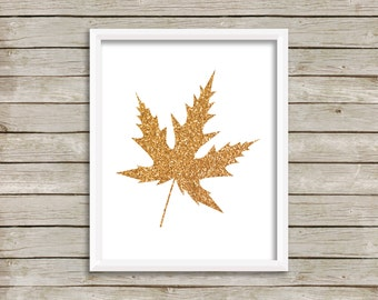Gold Leaf Printable, Thanksgiving Decor, Best Selling Items, for Her, Autumn Wall Art, Holiday Decoration, Gold Glitter