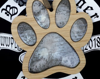 Oak veneer paw hanging decoration - Grey and white version. Dog or cat paw