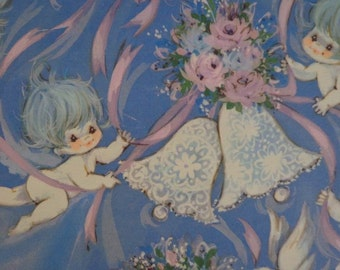 Vintage 1960s Wedding Gift Wrap- Blue Haired Cherubs, Bells & Bouquets- 1 Sheet Wrapping Paper