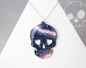 Necklace Galaxy Skull * Wood Painting Handmade * Star * Space * Nebula * Astronomy * Silver Sterling * Pendant * Constellation * Magic *