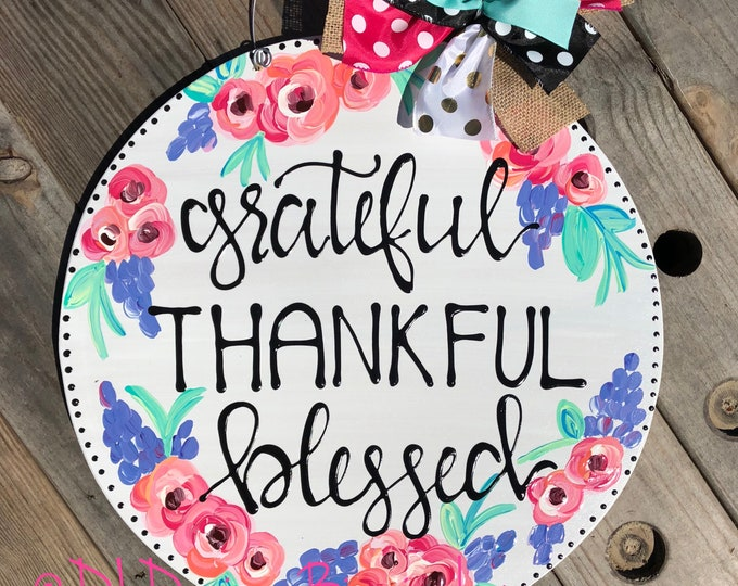 Floral spring door hanger hand lettering grateful thankful blessed