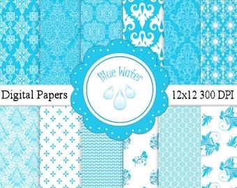 Blue Water Digital Paper Pack 12 x12 300 DPI