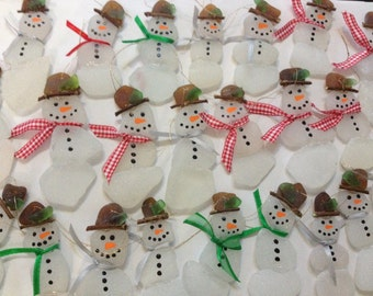 Snowman Ornaments, Beach Glass, Sea Glass, set of 5