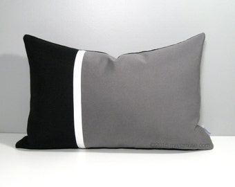 Black & Grey Outdoor Pillow Cover, Modern Sunbrella Pillow Cover Masculine Color Block Cushion Cover, Black Gray White Pillow Case Mazizmuse
