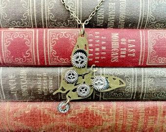 Steampunk Butterfly Necklace- Steampunk Jewelry- Steampunk Gear Necklace- Steampunk Costume- Butterfly Jewelry- Butterfly Necklace