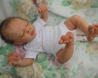 "Sorry SOLD / orders taken reborn baby Erin realistic 19"" 5lb 8oz newborn artist painted  JosyNN, Adrie Stoete sculpt"