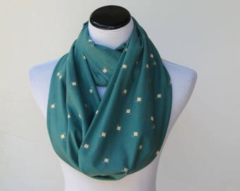 Turquoise scarf teal scarf infinity scarf soft jersey knit scarf circle scarf loop scarf birthday gift for woman and teen girl