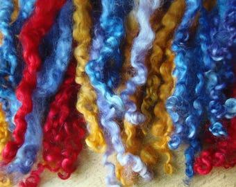 Leicester Longwool, dyed locks, curls, longwool, British Wool, festive, Christmas