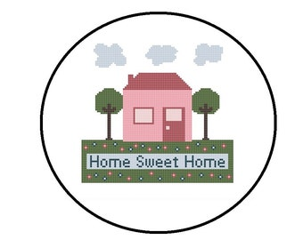 Counted Cross Stitch Pattern, Home Sweet Home Cross-Stitch Pattern PDF