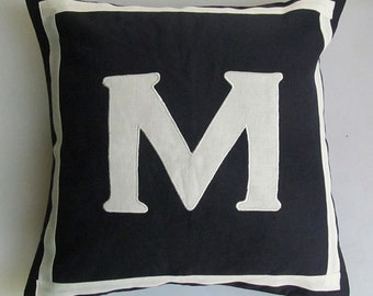 midnight blue monogeam pillow.  with  off white  or colour ot your choice  monogram. 18 inch. custom made.