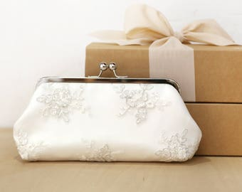Peony Silver Alencon Bridal Clutch   Embroidery tulle