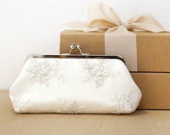 Pochette de mariée pivoine argent Alencon | Tulle broderie