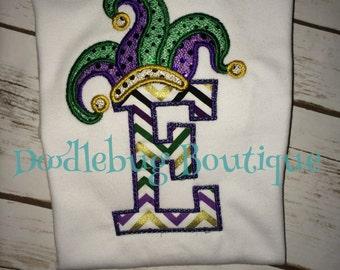 Mardi Gras jester hat initial shirt