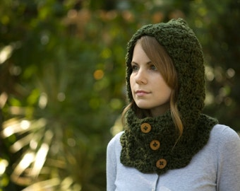 Forest Green Hooded Cowl, Olive Button Cowl with Hood, Pixie Hood, Elf Woodland
