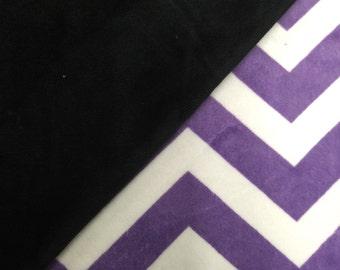 "Black and Purple and White Chevron Minky Baby Girl Boy Blanket 29""x35"" Baby Shower Gift"