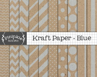 Blue Kraft Digital Paper Pack, Blue Kraft Scrapbook Paper, Blue Kraft Textured Paper, Instant Download, Commercial Use