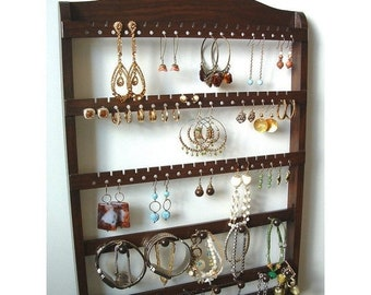 ON SALE Jewelry Organizer Earring Holder, Wall Mount, Bracelet Storage Necklace Display, Solid Oak Hardwood, Lovely Cocoa Brown Stain