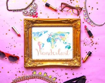 WANDERLUST WORLD MAP Print (8.5 x 11)