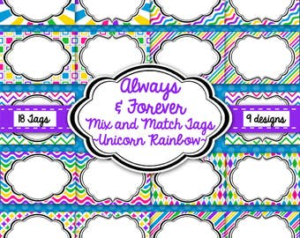 Tags, Labels, Frames-Unicorn Rainbow Pack-Purple, Blue, Yellow, Pink, Green-Instant Download