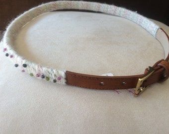 leather belt with hand spun wool