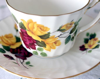 Royal Sutherland Yellow Pink Red Roses Teacup and Saucer