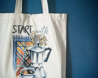 """tote bag or Tote """"Start with fajr and coffee"""""""