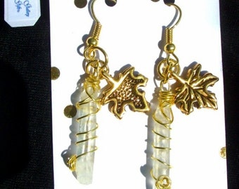 White Quartz Crystal Earrings - Gold wirewrapped, Gold Oak Leaf charm, RedRobinArt