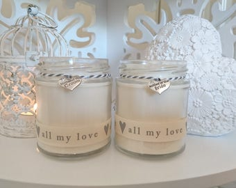 2 x Scented Candles- Mother of the bride & Mother of the groom (all my love)