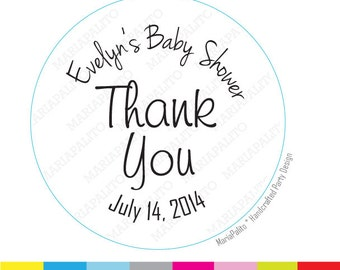 Baby shower Stickers, Thank you Stickers, Baby Shower Stickers, PRINTED Round Stickers, Tags, Labels A989