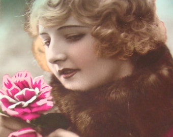 SALE 2 Hand Tinted Vintage Pretty Lady Postcards