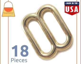"5/8 Inch Slides for Purse Straps, Shiny Brass Finish, 18 Pieces, Handbag Bag Making Hardware Supplies, 5/8"", BKS-AA039"