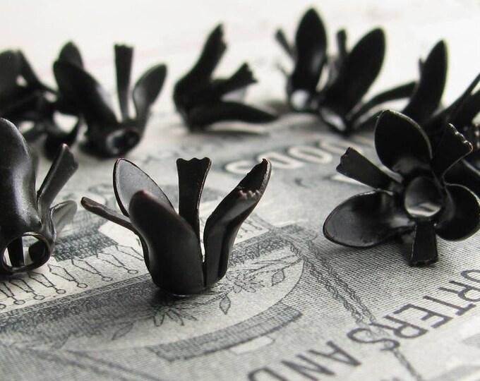 Carnation bead cap, delicate black flower petals stamen, black antiqued brass (6 bead caps) dark oxidized patina BC-SG-034
