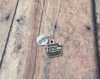Typewriter initial necklace - typewriter jewelry, gift for writer, typist necklace, writer necklace, silver typewriter pendant