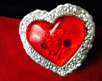 Vintage Valentine Aluminum and Plastic Heart Pin