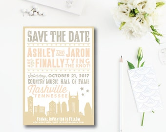 Downtown Skyline Printed Save the Dates | Southern Save the Date | Printed or Printable by Darby Cards