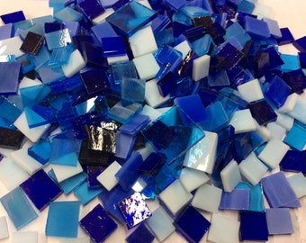 150 BLUES BROTHERS MOSAIC Tile Odd Size Mix - Stained Glass Supply B31