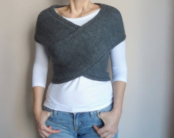 Hand knit Vest, Cross Sweater, Capelet, Neck warmer in Charcoal Dark Grey Gray, Women Sweaters