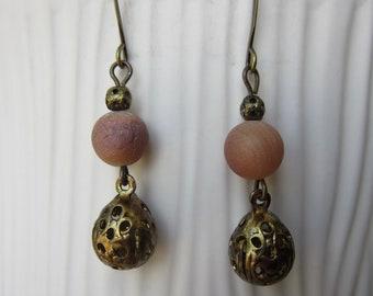 Blush Stone and Filigree Earrings