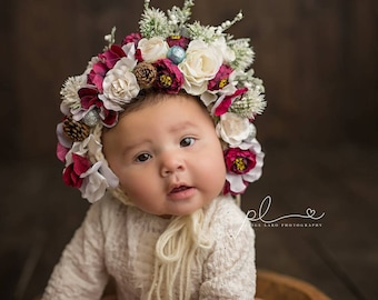 Flower Bonnet, Garden Bonnet, Floral Bonnet, Baby hat, Newborn Hat, Baby Photo Prop, Christmas Photo Prop, Knit Baby Bonnet, Sitter Bonnet