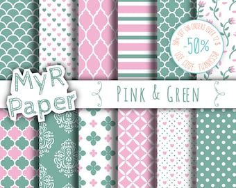 "Romantic digital paper: ""Pink & Green"" seamless pattern for scrapbooking, invite, card – printable - perfect for valentine's day and wedding"