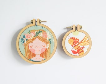 "4 Mini Embroidery Hoops in 2 sizes | 1.6"" (40mm) and 2.2"" (55mm) Embroidery Hoops from Dandelyne, Circular Mini Hoops, DIY Jewelry Hoop Art"