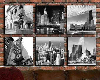 Chicago on Canvas -  Set of 4 or 6 Quality Gallery Prints, Chicago art, Chicago canvas, Chicago photography