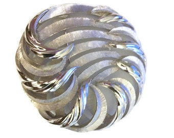 Trifari Swirl Brooch Silver Tone Matte Shiny Spray Pin  Round Circle Vintage  Trifari Signed  Gift for Her Gift for Mom