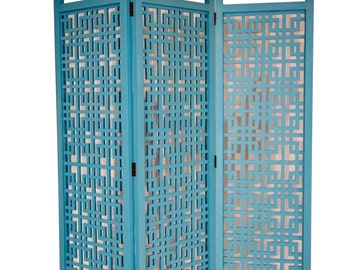 Three Panel Geometric Divider in Ocean Blue