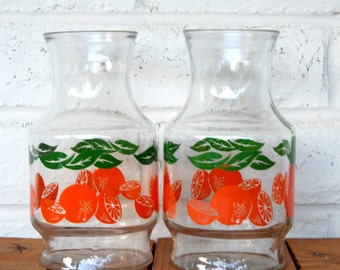 Vintage Anchor Hocking Glass Oranges Pitcher