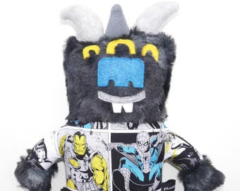 Grau-Monster-Plüsch, Stuffie, bestaunen, Avengers, kuschelig, Monster, im Taschenformat, ausgestopfte Tiere, pop-Kultur, Spiderman, Stofftier